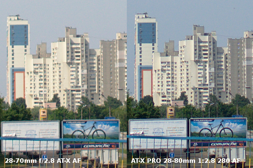 Tokina 28-70mm f/2.8 AT-X AF vs AT-X PRO 28-80mm f/2.8 280 AF Crop 100%