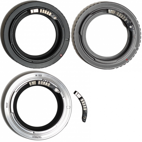 Collection of Adaptall-2 to Canon EOS EF mount adapters with EMF chip.